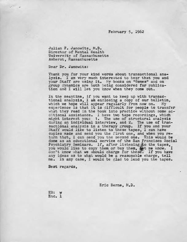 Eric Berne letter to Julian F. Janowitz, 1962-02-05