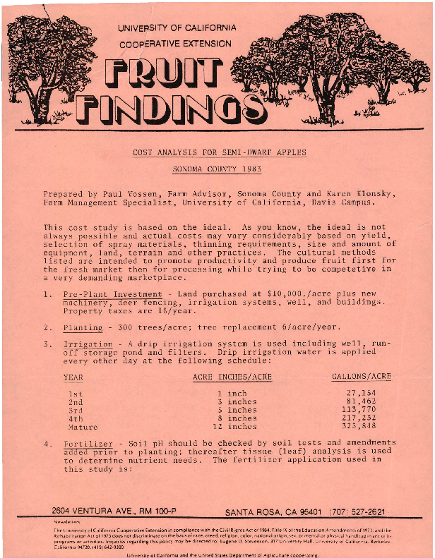Fruit Findings--Cost Analysis for Semi-Dwarf Apples Sonoma County 1983