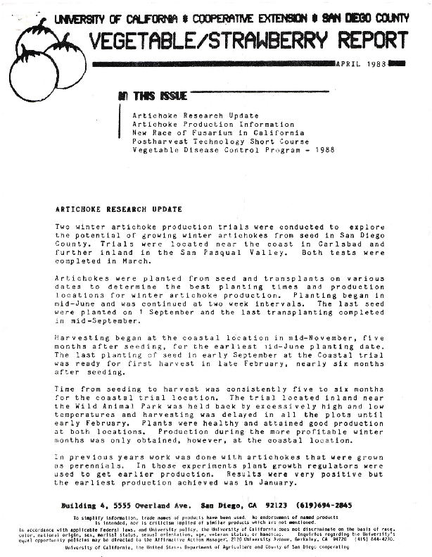 Vegetable/Strawberry Report--Artichoke Research Update, Artichoke Production Information, New Race of Fusarium in California, Postharvest Technology Short Course, Vegetable Disease Control Program-1988