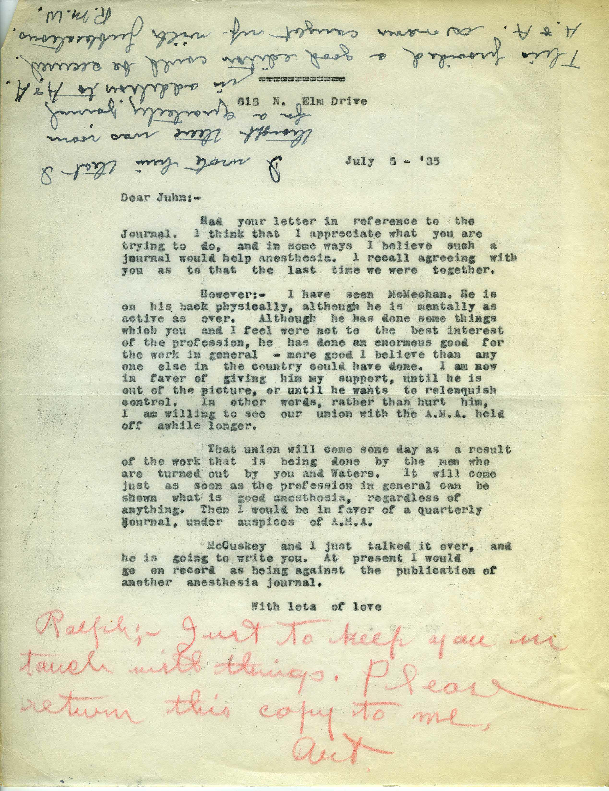 Arthur E. Guedel letter to John S. Lundy