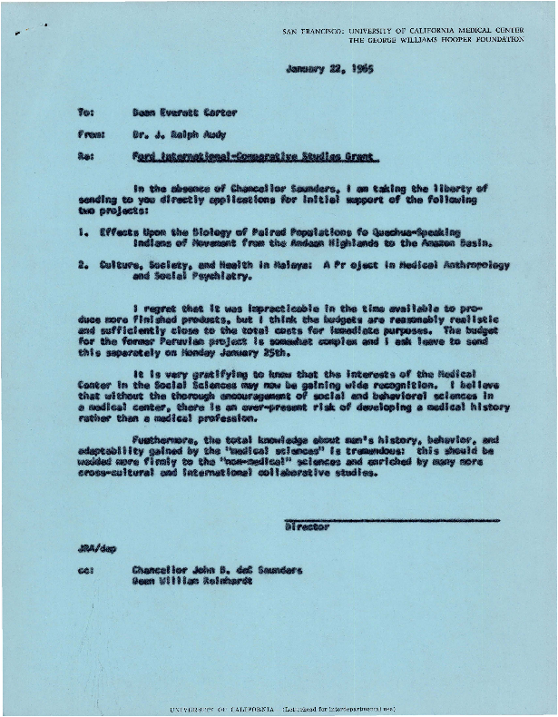Letters between Everett Carter, J. Ralph Audy, William Reinhardt, W. R. Pritchard, and members of the Hooper Advisory Board
