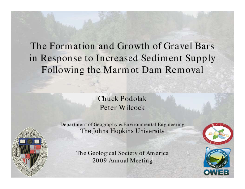 The Formation and Growth of Gravel Bars in Response to Increased Sediment Supply Following the Marmot Dam Removal