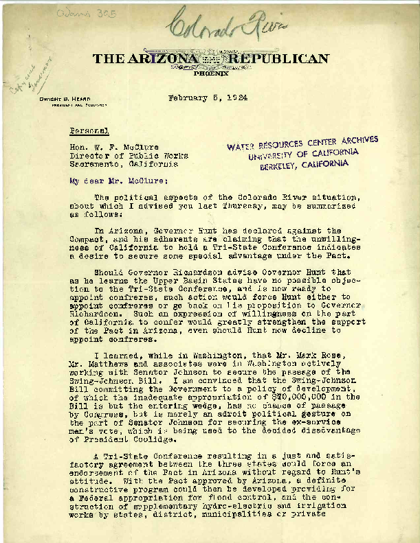 Dwight B. Heard letter to W. F. McClure