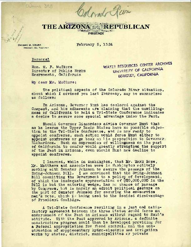 Dwight B. Heard letter to W. F. McClure