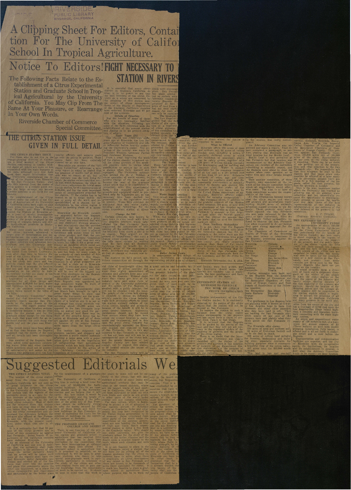 Newspaper clippings regarding selection of Riverside, California as site for Citrus Experiment Station