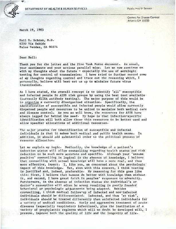 Donald P. Francis letter to Neil R. Schram