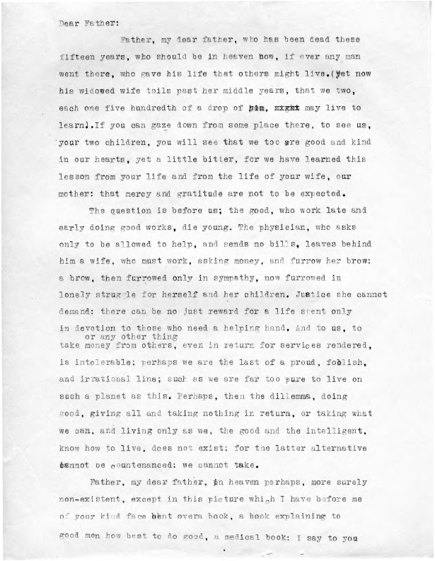 Eric Berne letter to Father (David Hillel Bernstein), ca. 1935