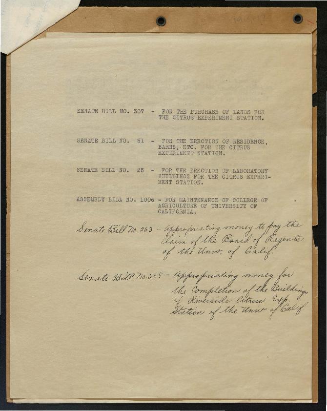 Document detailing Senate bills