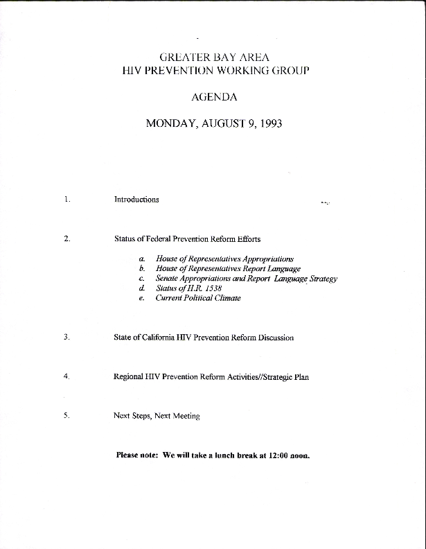 Other Organizations/Cooperation: Health and Human Services (HHS) HIV Prevention Working Group