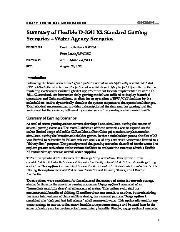 Summary of flexible D-1641 X2 standard gaming scenarios -- water agency scenarios