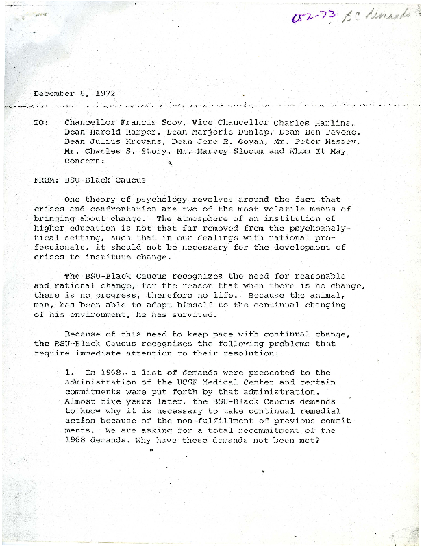 BSU-Black Caucus letter to Chancellor Francis Sooy and others