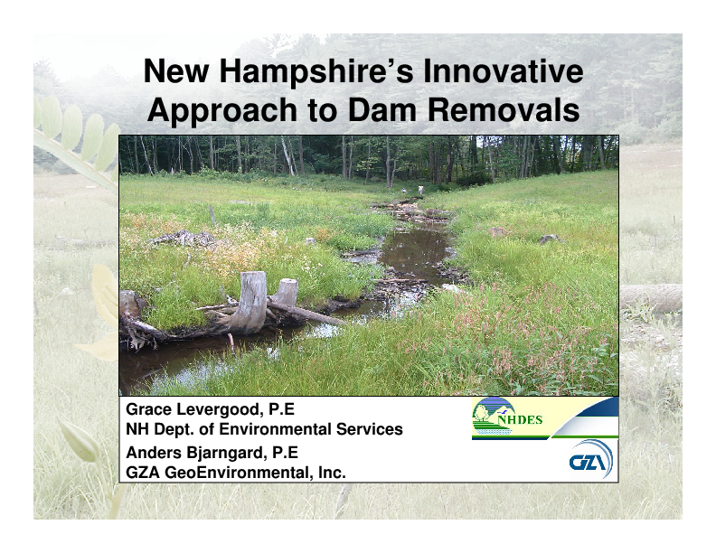 New Hampshire's Innovative Approach to Dam Removals