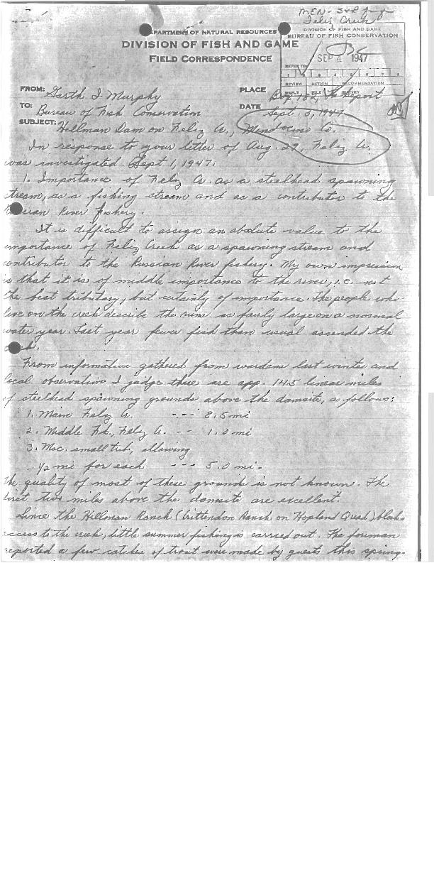 Feliz Creek: 1947 Field Notes on Steelhead Spawning Habitat