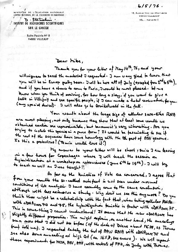 Dominique Stehelin letter to J. Michael Bishop (2)