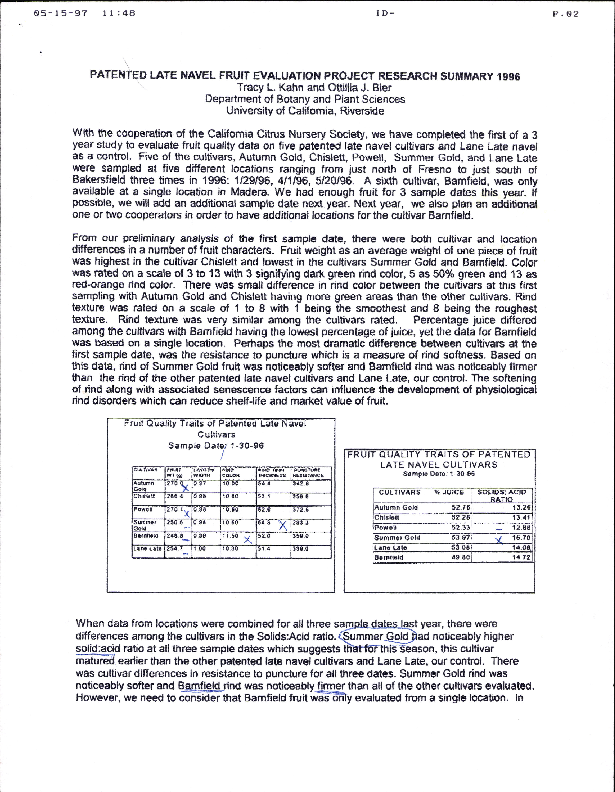 Patented Late Navel Fruit Evaluation Project Research Summary 1996