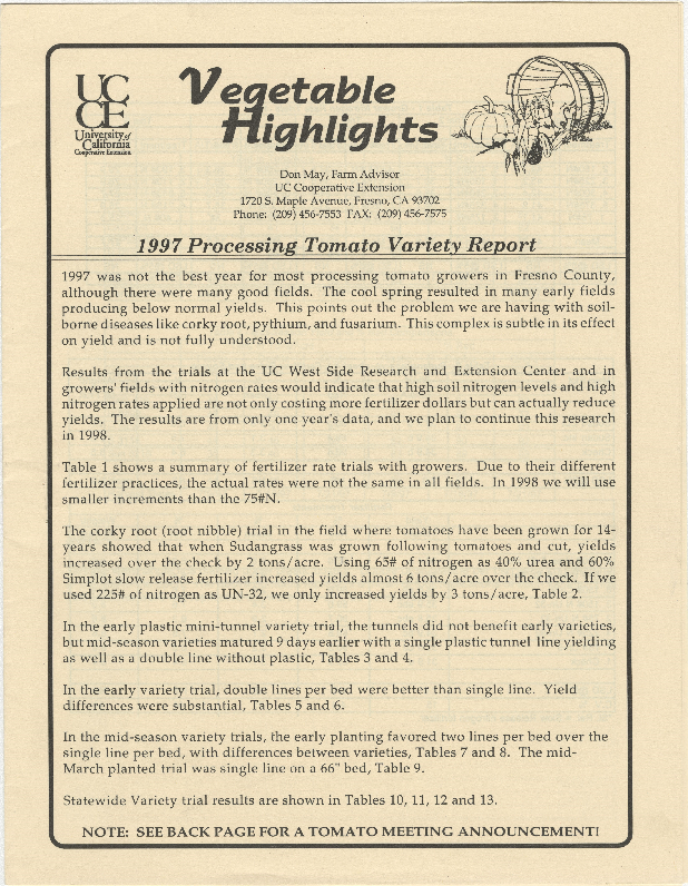 1997 Processing Tomato Variety Report