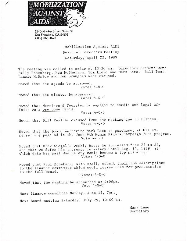Board Meetings: April 1989