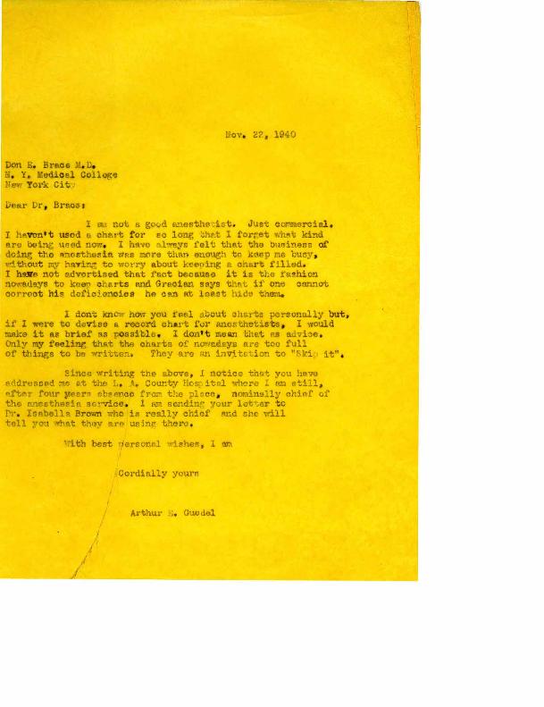 Arthur E. Guedel to Don. E. Brace