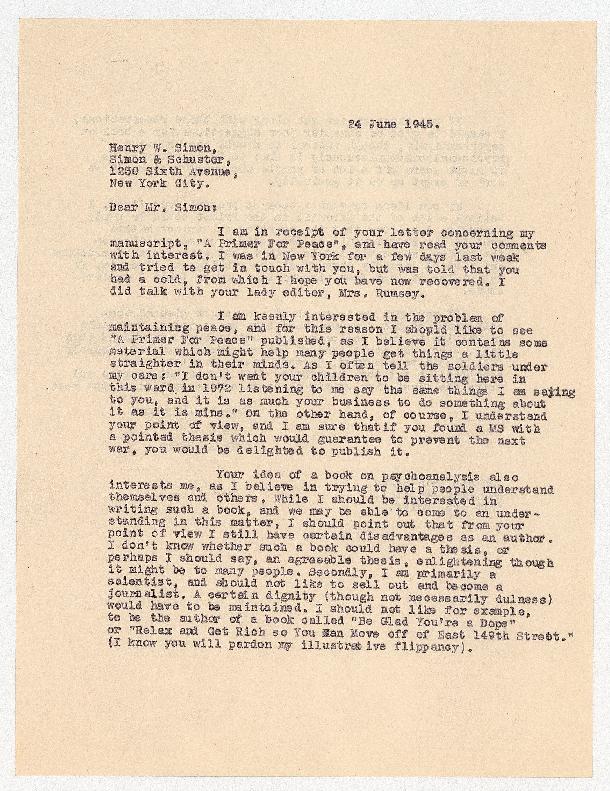 Eric Berne letter to Henry Simon, 1945-06-24