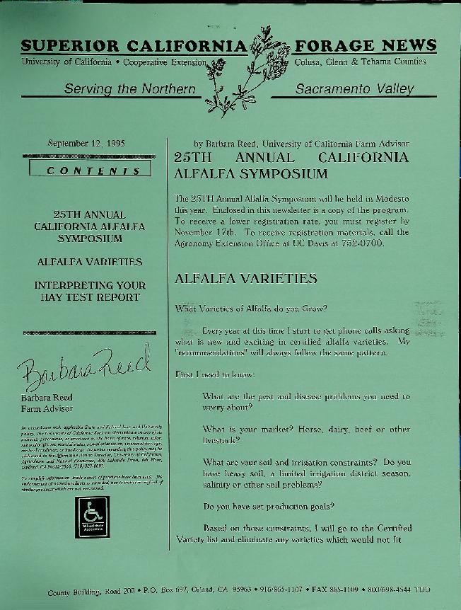 Superior California Forage News--25th Annual California Alfalfa Symposium