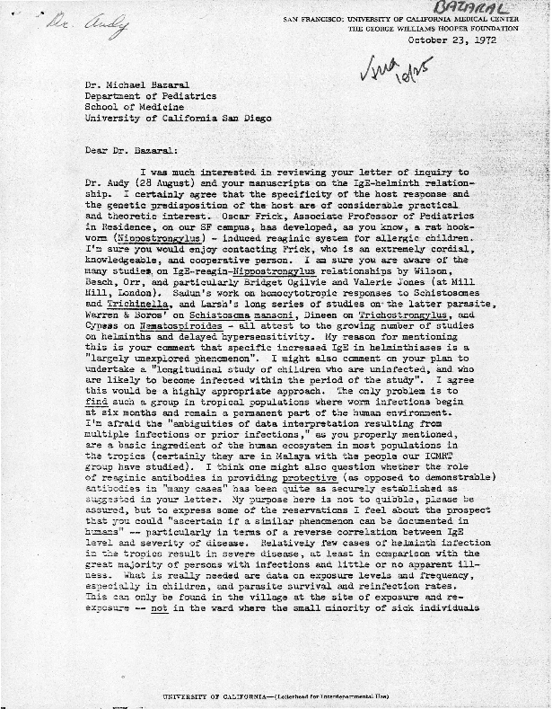 Letter to Michael Bazaral from Donald Heyneman