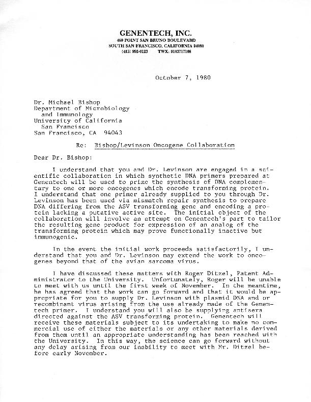 Thomas D. Kiley letter to J. Michael Bishop