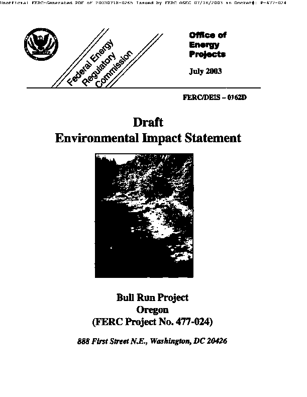 Draft Environmental Impact Statement for Portland General Electric Co's Bull Run Hydroelectric Project