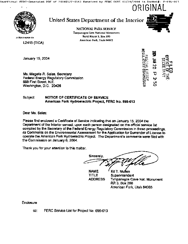 Comments on Notice of Notice of Availability of Environmental Assessment, American Fork Hydroelectric Project