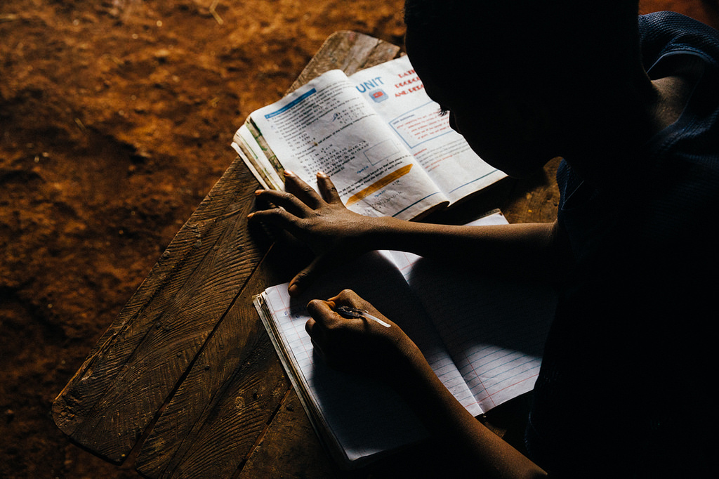 Boy doing homework in Ethiopia