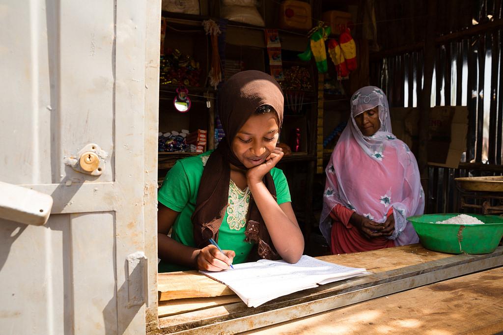 Girl doing homework in Ethiopia