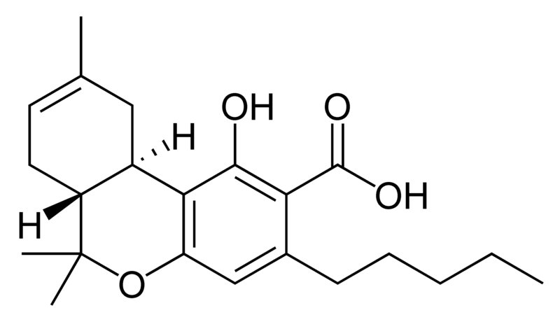 Chemical structure of delta-8-tetrahydrocannabinolic acid A.