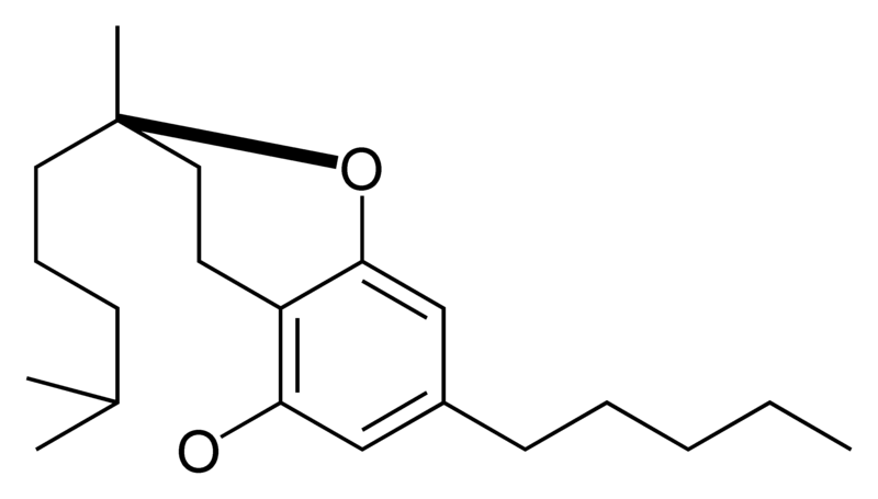 Chemical structure of the CBC-type cyclization of cannabinoids.