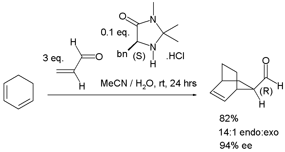 DA reaction with McMillan catalyst
