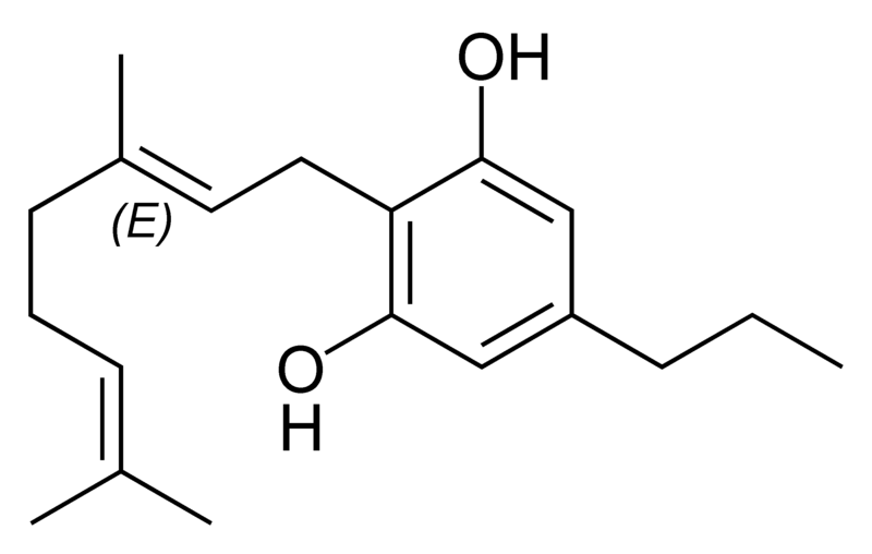Chemical structure of cannabigerovarin.