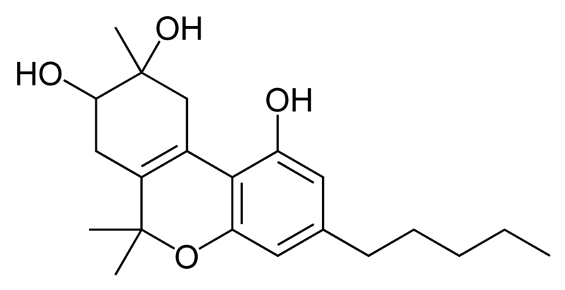 Chemical structure of 8,9-dihydroxy-delta-6a(10a)-tetrahydrocannabinol.
