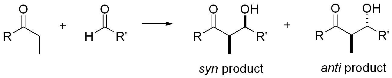 Syn and anti products from an aldol reaction
