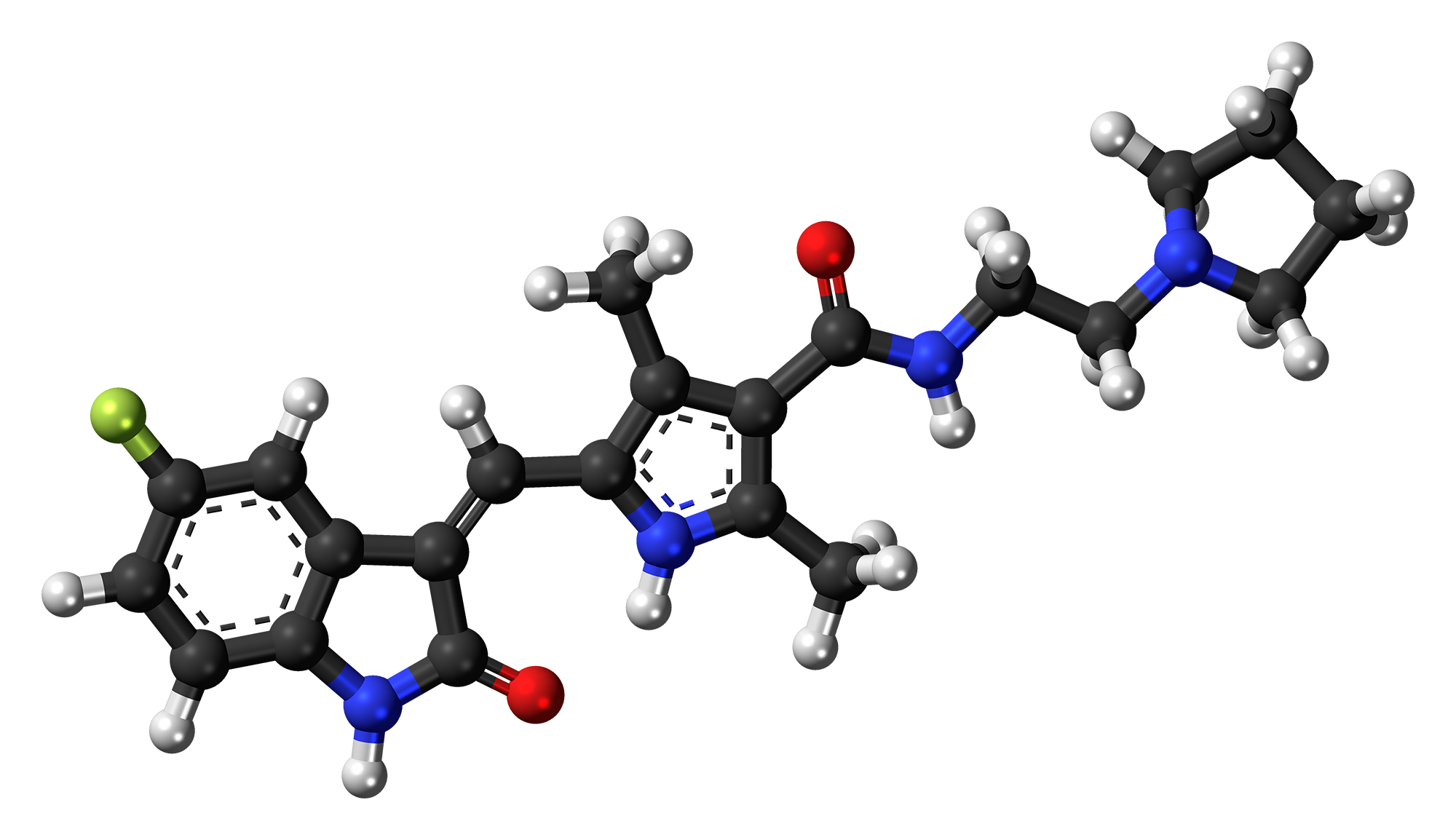 Ball-and-stick model of the toceranib molecule