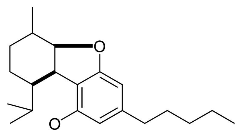 Chemical structure of the CBE-type cyclization of cannabinoids.