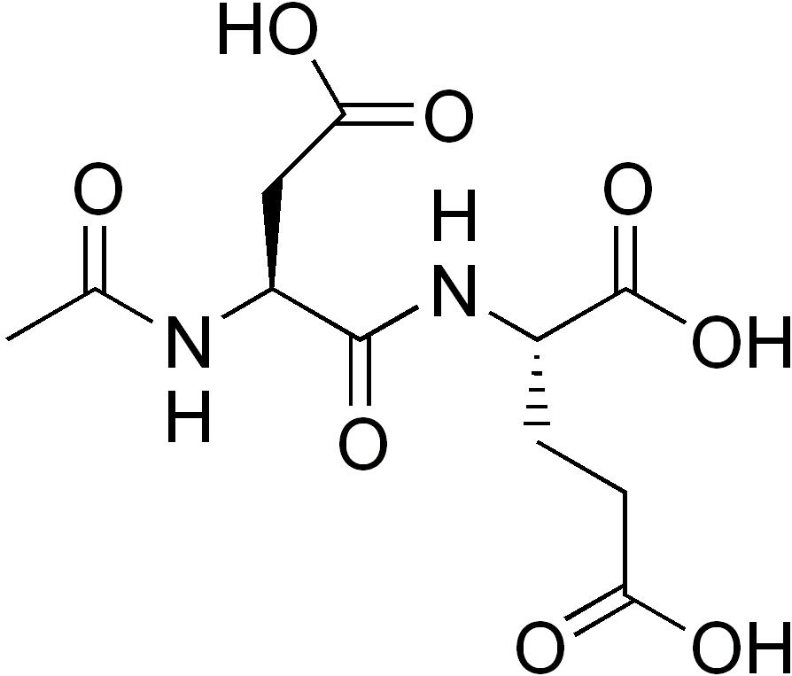 Stereo, skeletal formula of N-acetylaspartylglutamic acid