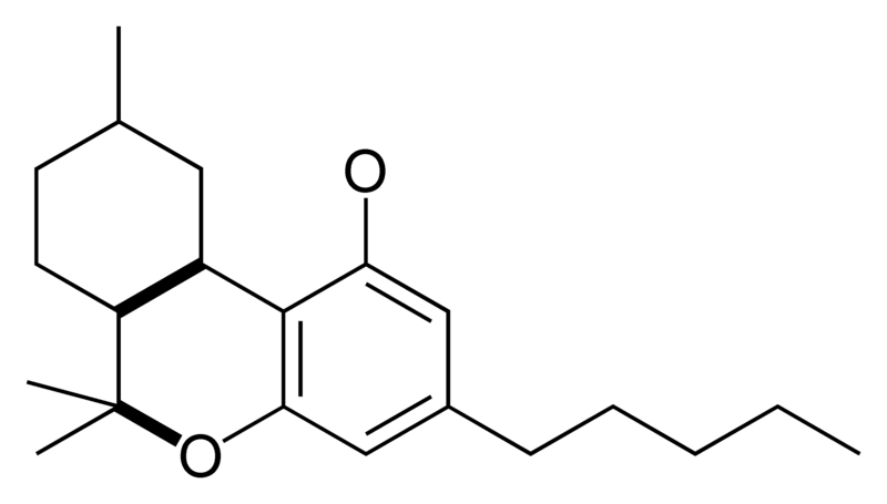Chemical structure of the CBN-type cyclization of cannabinoids.