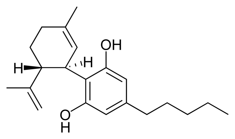 Chemical structure of cannabidiol.