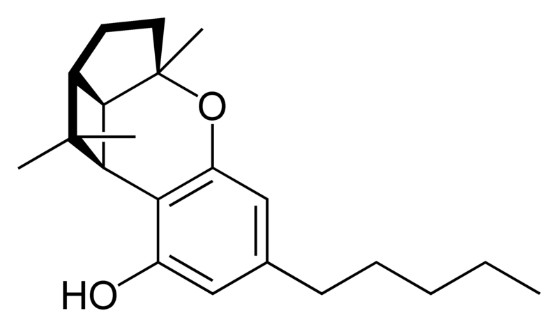 Chemical structure of cannabicyclol.