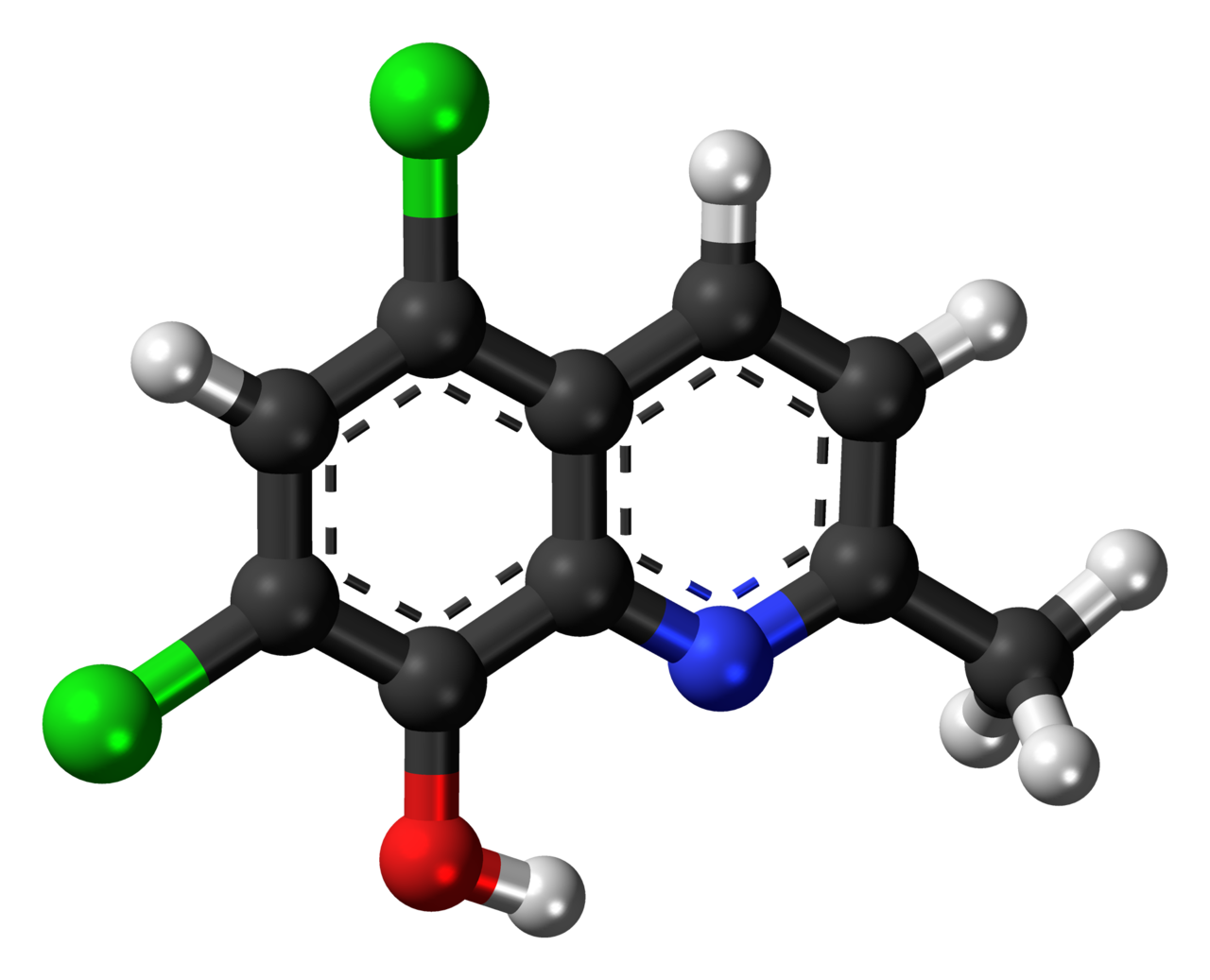 Ball-and-stick model of the chlorquinaldol molecule