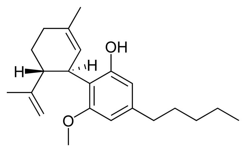 Chemical structure of cannabidiol momomethyl ether.