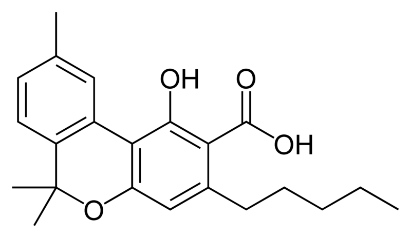 Chemical structure of cannabinolic acid A.