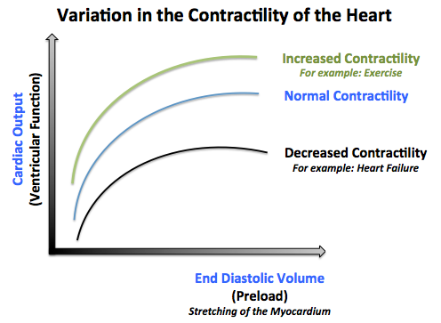Variation in the contractility of the heart: note that each curve represents a state of contractility of the heart but any point on each curve represents the same state of contractility.