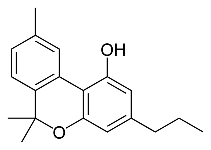 Chemical structure of cannabivarin.