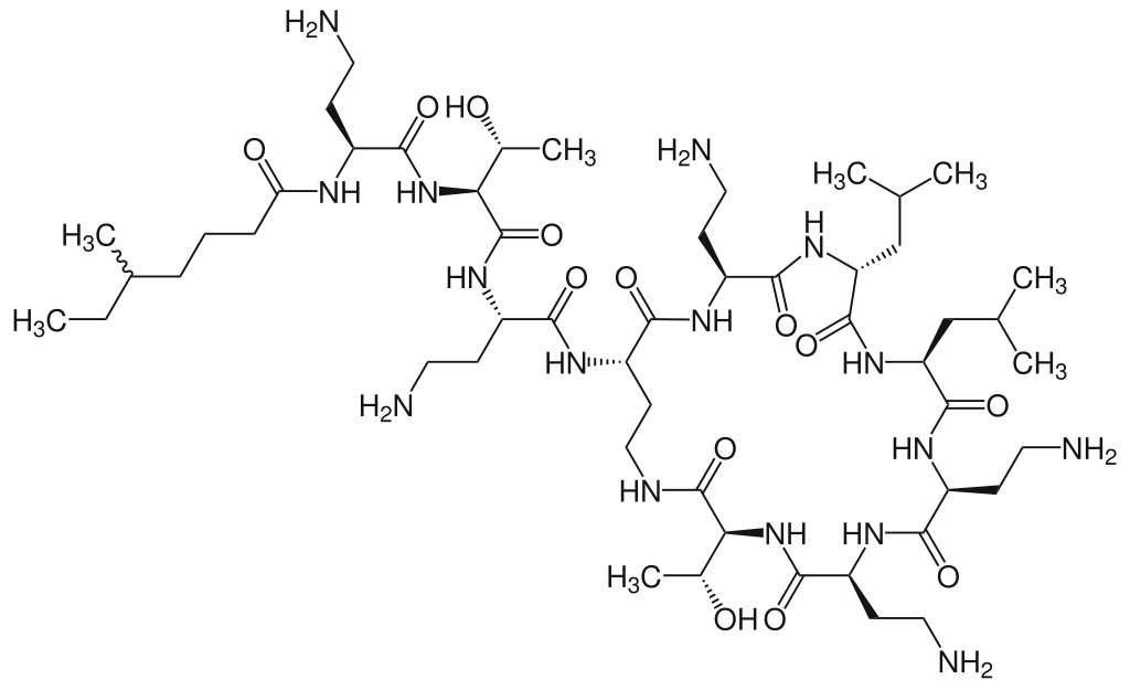 Chemical structure of Colistin