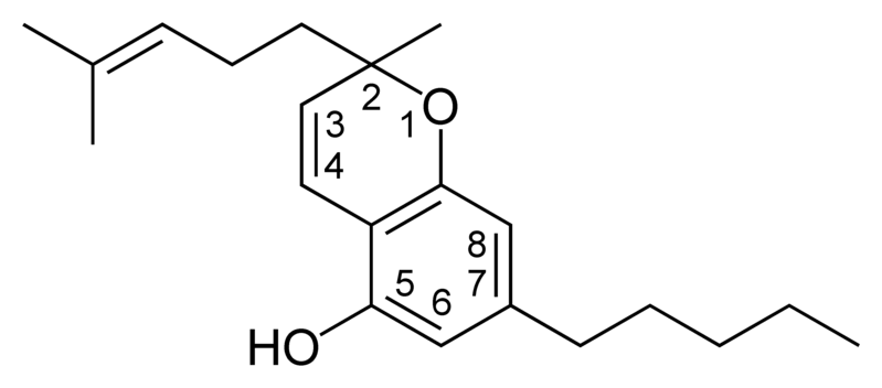 Chemical structure of a CBC-type cannabinoid.