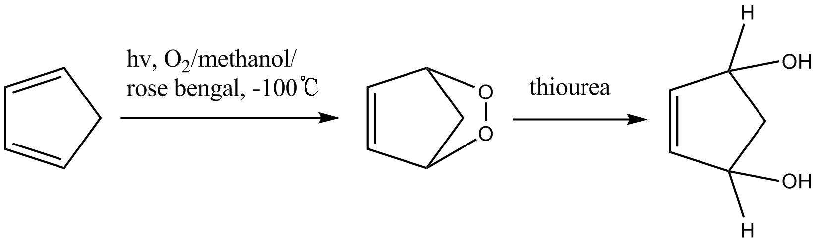 reduction of cyclic peroxide